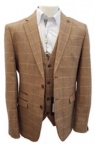 Uomo Marc Darcy Vintage Tweed A quadri Giacca Jacker - DX7 Quercia (44 - 111cm)
