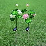 Liyao Kreative künstliche Blumen-Licht Solar-Gartenlicht mit DREI Wasserlilien für Garten, Garten und Garten, weiß, Overall Height 70cm