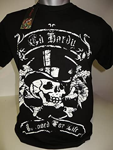 Ed hardy hommes t-shirt pour homme basic s/s crew brad & bones noir taille s avec imprimé