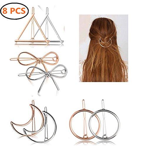 8 Pcs Or argent cheveux Clips pinces en métal, Creux géométriques métalliques épingle , Triangulaire Circulaire Lune Nœud papillon en épingle à cheveux pour femmes