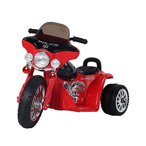 HOMCOM Elektro Kindermotorrad Elektromotorrad Kinderelektroauto Kinderfahrzeug Dreirad, 6V, Metall+PP, 80x43x54,5cm (Rot+Schwarz)