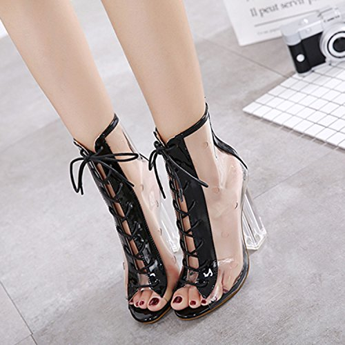 Oasap Women's Transparent Peep Toe Lace up Block Heels Sandals Black
