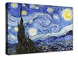canvashop Quadri Moderni Soggiorno Van Gogh La Notte Stellata cm 100x70 Quadro Stampa su Tela Canvas