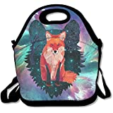 Galaxy Wolf Inside Fox Handy Portable Zipper Lunch Box Lunch Tote Lunch Tote Bags