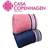 Casa Copenhagen 500 GSM 2 Pieces Large (70 cm x 140 cm) Cotton Bath Towel Set - Victorian Pink and Majestic Blue- Pack of 2