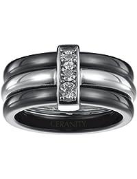 Ceranity - 1-18/0003-N - Bague Anneaux Femme - Barrette - Argent 925/1000 3.8 gr - Diamant - Céramique - Blanc