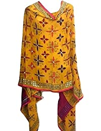 ETHNIC INDIA YELLOW PINK Phulkari GEORGETTE HAND EMBROIDERED MIRROR WORK DUPATTA SCARF SHAWL FDB3
