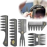 5er Set Haarkamm Retro-Stil breiter Zahnkamm Ölkopfkamm Haarkamm Für Männer Hair Styler