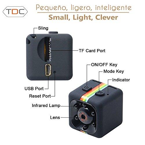 TDC Camara Espia Mini HD 1080 Cámara De Vigilancia Compacta Equipada Con Grabador Multifuncional De Vídeo Digital (DVR) En Micro SD Cámara De Deporte o Webcam. Mini Spy Cam TDC