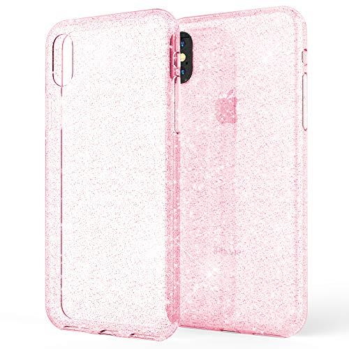 NALIA Handyhülle kompatibel mit iPhone XS Max, Glitzer Ultra-Slim Silikonhülle Case Backcover Schutzhülle, Glitter Sparkle Handy-Tasche Bumper Cover, Dünnes Bling Strass Etui Hülle, Farbe:Pink Pink Handy Cover