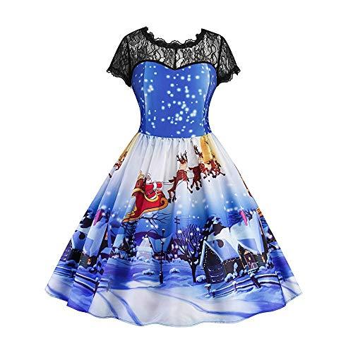 MIRRAY Damen Mädchen Kleider Spitze Kurzarm Weihnachten Schnee Gedruckt Vintage Swing Kleid Brautkleid ()