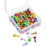 Willbond 150 Piezas Mini Brads Brad de Colores Surtidos Redondo Brads Pastel con Caja de Almacenamiento de Plástico para Scrapbooking Manualidades Fabricación de Estampado DIY