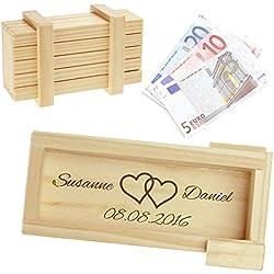 Magische Geschenkbox zur Hochzeit - personalisiert mit Namen und Gravur - Trickkiste für Geldgeschenke - Knobelspiel - Verpackung für Hochzeitsgeschenke - Motiv Herzen – hell - 10,5 x 6,5 x 4 cm