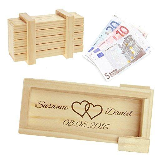 """Caja regalo mágica de madera clara – Grabado """"Boda"""" – Caja personalizada con [nombres] y [fecha] – Motivo [Corazones] – Juego de ingenio – Caja regalo 10,5 cm x 6,5 cm x 4 cm"""