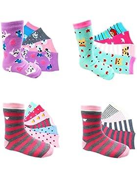 12 Paar Mädchen Socken Kinder Strümpfe Kids Socks 90 % Baumwollsocken Gr. 23-38 verschiedene Farben und Motive