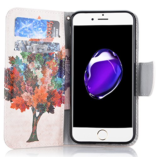 SMART LEGEND für iPhone 7 Ledertasche Hülle(4.7 Zoll) Lederhülle Brieftasche Handyhülle mit Mandala Muster Premium Schutzhülle Wallet Case Ledercase Design Neu Zubehör im Bookstyle Cover Schale mit St Bunt Baum