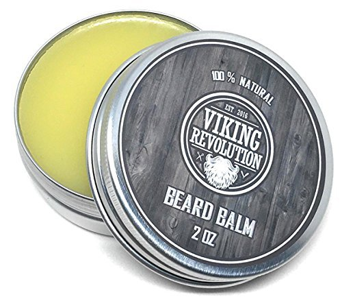 Grooming Wax (Viking Revolution Beard Balm - All Natural Grooming Treatment with Argan Oil & Mango Butter - Strengthens & Softens Beards & Mustaches - Citrus Scent Leave in Conditioner Wax for Men - 1 Pack)