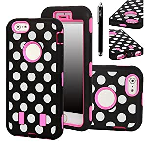 iPhone 6 Case, E LV iPhone 6 Case - Deluxe Printed Hard Soft High Impact Hybrid Armor Defender Case for Apple iPhone 6 4.7 (Polka Dot Hot Pink)