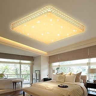 VGO® 60W LED Kristall Deckenleuchte Starlight Effekt Mordern Schlafzimmer Deckenbeleuchtung Warmweiß Panel Lampe 2700K-3000K