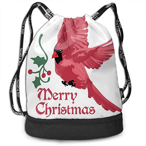 MLNHY Printed Drawstring Backpacks Bags,North American Bird with Holly Berry Silhouette Aquarelle Animal Design,Adjustable String Closure Holly Berry Designs