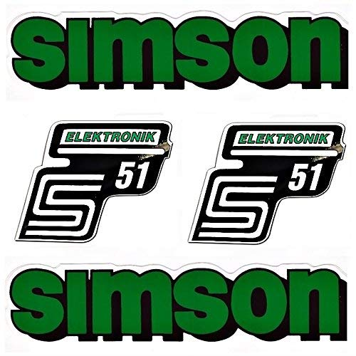 Aufkleber Sticker 4-teilig für Simson S51 Elektronik Grün S51 Elekrtronik