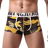 Herren Männer Jugendliche Jungen Sexy Spezialpack Boxer Briefs Transparent Baumwolle Bunt Boxershort Unterhose Retro Shorts Kurz Unterwäsche (Braun, M)