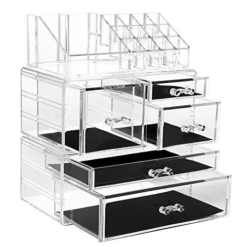 Acryl Makeup Organizer Kosmetische Aufbewahrungsboxen mit 3 Abnehmbaren Trennwänden Kosmetik Organizer Schubladen für Lippenstift&Pinsel&Schmuck&Stiftung(5 Schubladen,C) - 3 Pack Acryl