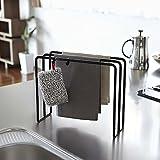 Freistehender Geschirrtuchhalter mit 3 Ebenen, für Küchenutensilien, mit 2 Haken für Küchenarbeitsplatten, aus Metall Schwarz