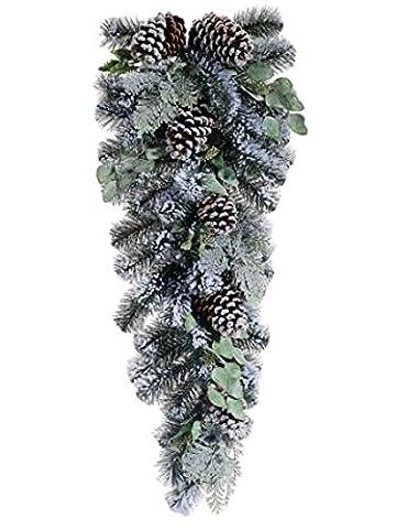 83,8cm artificiel floqué Cône de pin et d'eucalyptus de Noël