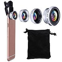 Universal 3in 1Kit-lens, kamera ilgili hedeflerine Mobile profesyonel 180° balık gözü + 0,67inç x geniş açılı lens (+ 10x Micro hedef Cep telefonu için gümüş için uygun Plus/6S Plus/5, Samsung S5S6S7Rand vs. için–Gümüş