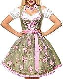 Dirndl Kleid Kostüm mit Herzausschnitt und Schnürung und Schürze aus glänzendem Stoff und Spitze Oktoberfest Dirndl grün/pink L