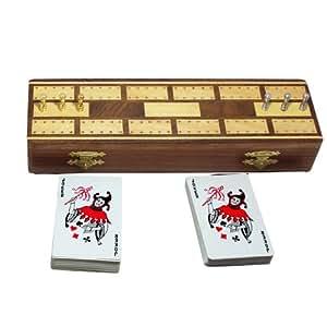 3 pista in legno Cribbage Board e pioli Set con 2 mazzi di carte da gioco