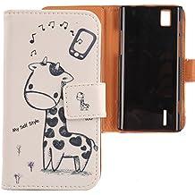 Lankashi PU Flip Funda De Carcasa Cuero Case Cover Piel Para Huawei Ascend P2 Giraffe Design