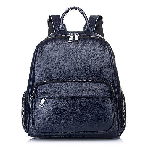 Mefly Neue Leder Rucksack Rucksack Tasche Leder Handtasche Einfache Freizeitaktivitäten Blue