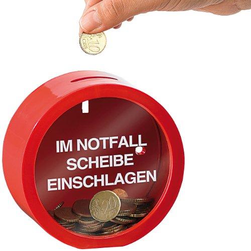 infactory Spardose Kinder: Feuerwehrrote Spardose für finanzielle Notfälle (Taschengeld-Spardose)
