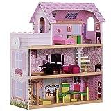 homcom Casa delle Bambole a 3 Piani con Ascensore Mobili 13pz Legno 60×30×71.5cm Rosa