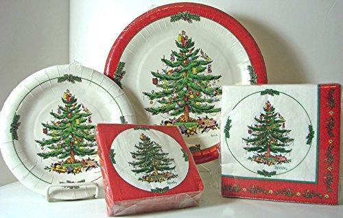 spx72r Serves 16! Spode Pappteller und Servietten, Weihnachtsbaum, 72 Stück, Rot -