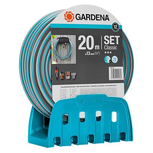 Gardena Wandschlauchhalter mit Schlauch: Set mit 20 m Schlauch, Spritze und Halterung, Schlauch ist druckresistent und formstabil, mit allen Gardena Geräten kombinierbar (18005-20)