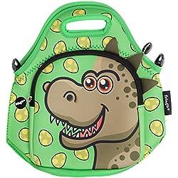 Fringoo®, bolsa de almuerzo de neopreno para niños con aislante térmico, bolsa con correa para el hombro con cremallera, bolsillo enfriador, almuerzo, día de campo, guardería, escuela, lindo., neopreno, Dino - Lunch Bag, normal