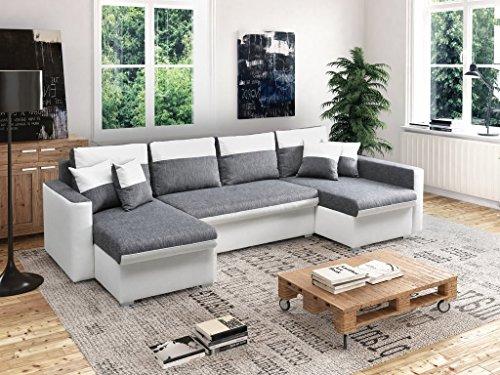 mb-moebel große Ecksofa Sofa Eckcouch Couch mit Schlaffunktion und Drei Bettkasten Ottomane U-Form Schlafsofa Bettsofa – Berlin U