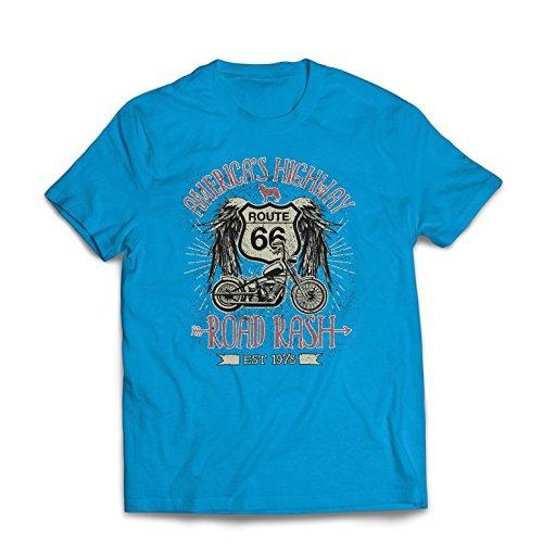 lepni.me Männer T-Shirt Route 66, Amerikas Autobahn - Road Rash, Biker-Kleidung (Large Blau Mehrfarben)