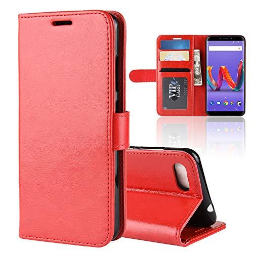 LAGUI Hülle Geeignet für Wiko Tommy 3 Plus/Harry 2, Schlichtes Aber Edles Brieftasche Lederhülle Mit Kartenfächern Fach und Magnetische Verschluss. rot