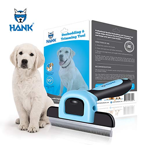 HANK Pet Grooming BrushDeshedding Tool for Dogs & Cats | Effectively Reduces Shedding by up to 95%