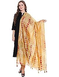 Dupatta Bazaar Women's Block Printed Beige & Red Silk Dupatta .