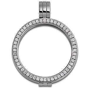 Amello Coin Edelstahl-Kettenanhänger silber mit Zirkonia weiß – Edelstahlanhänger – Coinsfassung für Damen – Edelstahlschmuck Stainless Steel ESC006W