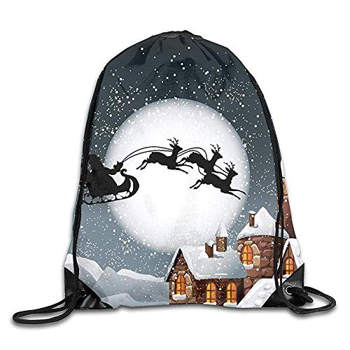 fdghjdyjdty Bundle Backpack Santa Rode Sled to The Sky Fitness Large Capacity Shoulder Drawstring Bags