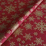Hans-Textil-Shop Stoff Meterware Sterne Gold auf Rot,