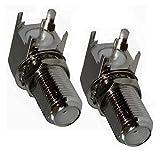 Aerzetix: 2 x F-Stecker Buchse Anschluss 839 Lötkolben für Chassis Panel AC Kabel Antenne TV Koaxial SAT