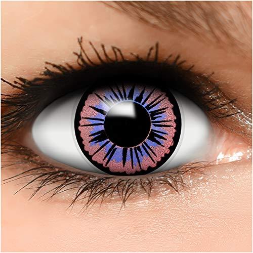 FUNZERA Farbige Kontaktlinsen Fee, in lila und schwarz inklusive Kontaktlinsenbehälter, 1 Paar Linsen (2 Stück)