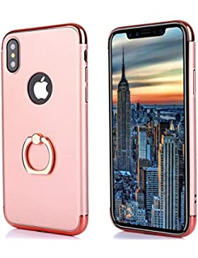 Funda iphone X,Soporte de Anillo 3 en 1 PC protección Funda Case Cover con Sorporte con Rotatorio de Agarre Case...